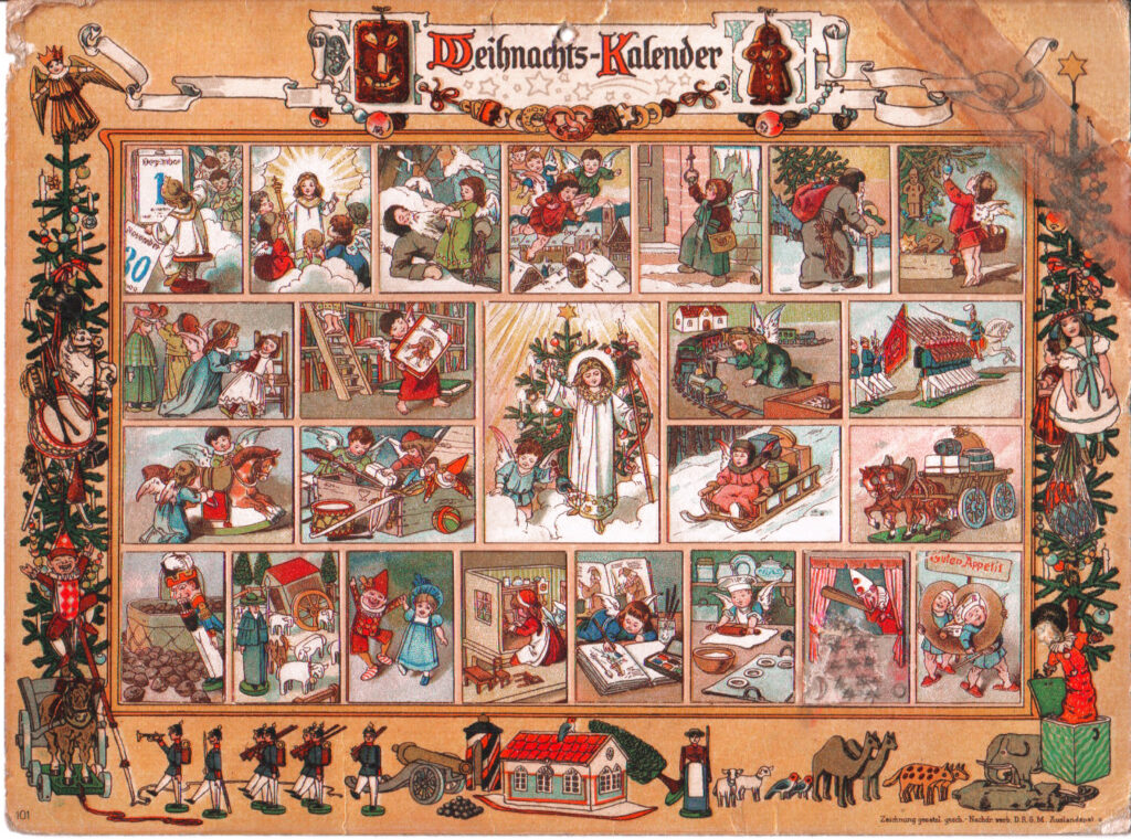 Premier calendrier de l'avent - Au pays de l'enfant Jésus - publié par Gerhard Lang - La petite histoire du calendrier de l'Avent originel