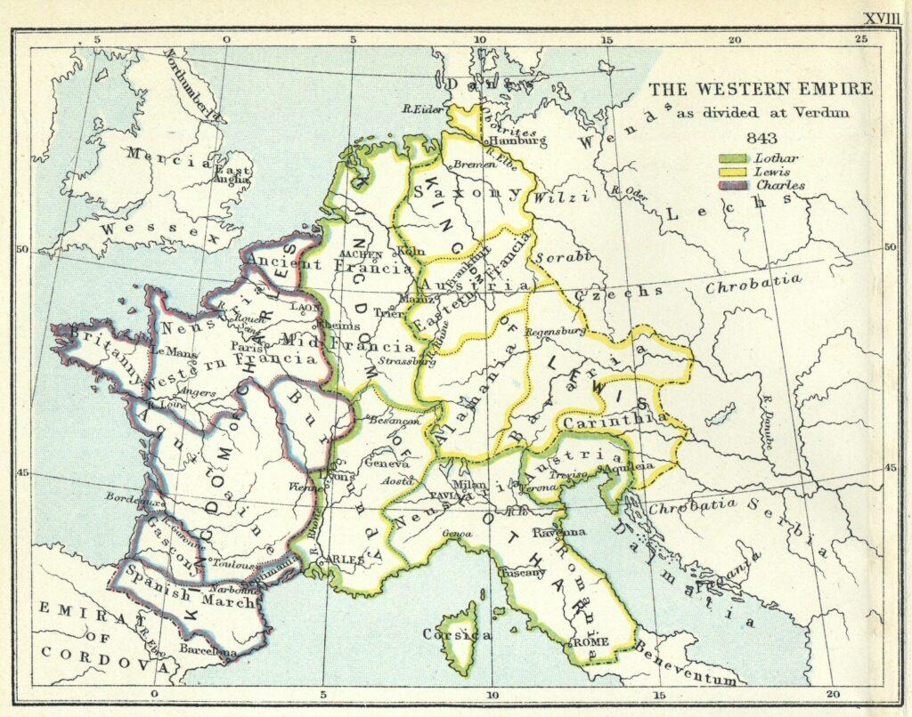 Carte de l'Empire de Charlemagne le roi des Francs, tel que divisé entre ses trois fils lors du Traité de Verdun (843)