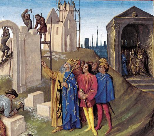 Charlemagne le roi des Francs assistant à la construction d'Aix-la-Chapelle (Pépin le Bossu devenant moine) – Grandes Chroniques de France, enluminées par Jean Fouquet