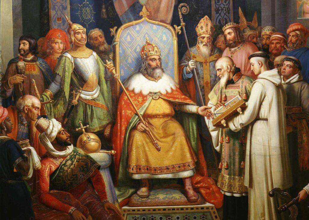 Charlemagne, entouré de ses principaux officiers, reçoit Alcuin
