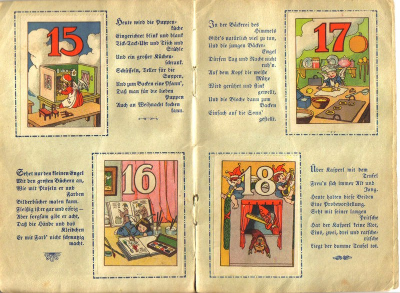La petite histoire du calendrier de l'Avent originel - Calendrier Scrapbook - Au pays de l'enfant Jésus - RLM vers 1920