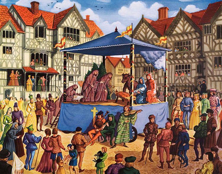 Un mystère, pièce de théâtre au XV siècle - Original Macmillan Poster - 1960 - L'origine des boules du sapin de Noël - les pommes